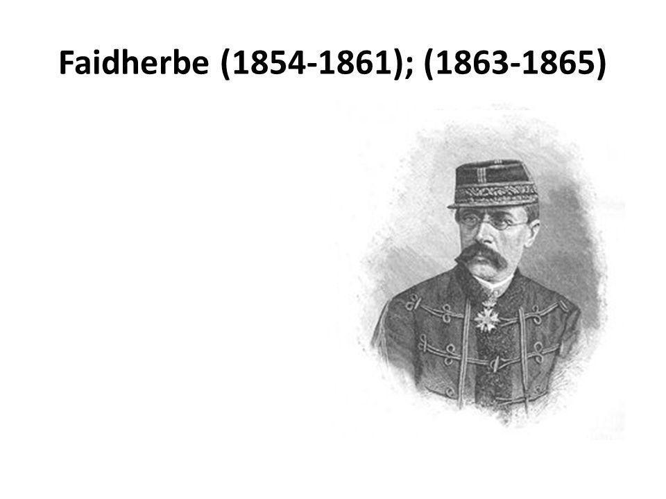 Louis Léon César Faidherbe (1818-1889) Polytechnicien et officier de lartillerie du génie Algérie (1842-1847) Guadeloupe 1848-1849 Algérie (1849-1852) Sénégal en 1852 16 décembre 1854, gouverneur de la colonie 1857: régiment de Tirailleurs sénégalais