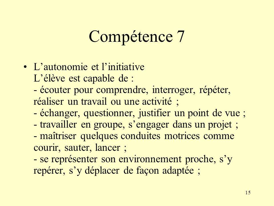 15 Compétence 7 Lautonomie et linitiative Lélève est capable de : - écouter pour comprendre, interroger, répéter, réaliser un travail ou une activité