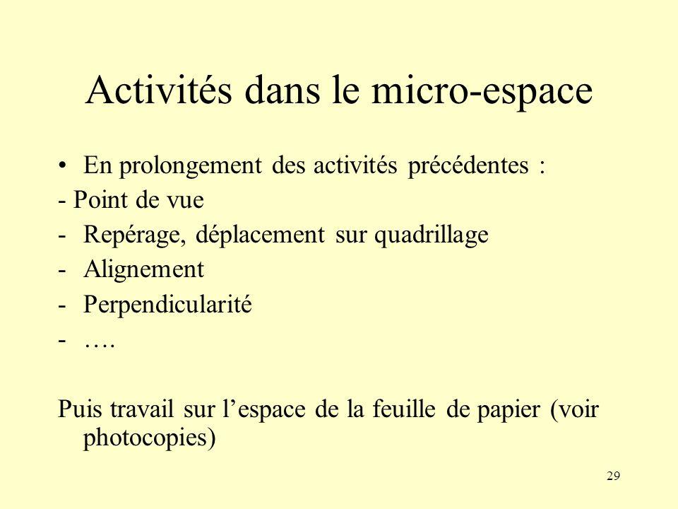 29 Activités dans le micro-espace En prolongement des activités précédentes : - Point de vue -Repérage, déplacement sur quadrillage -Alignement -Perpe