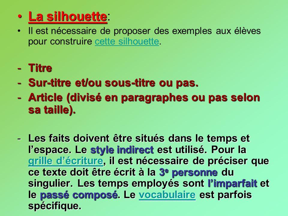 La silhouetteLa silhouette: Il est nécessaire de proposer des exemples aux élèves pour construire cette silhouette.cette silhouette -Titre -Sur-titre