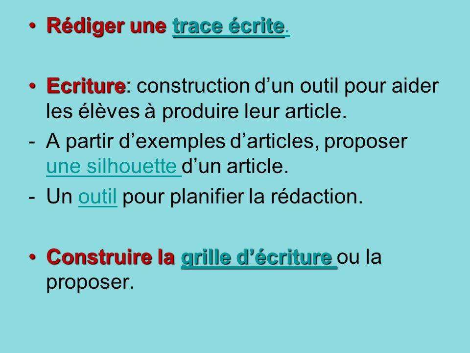 Rédiger une trace écriteRédiger une trace écrite.trace écritetrace écrite. EcritureEcriture: construction dun outil pour aider les élèves à produire l