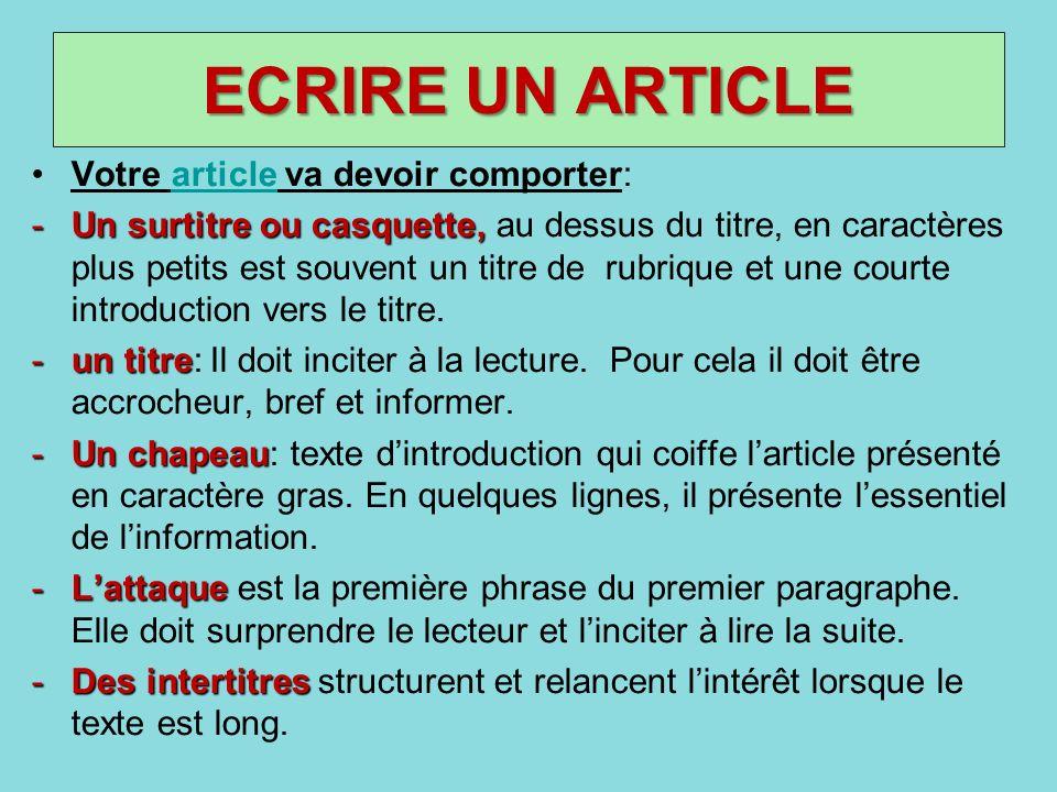 ECRIRE UN ARTICLE Votre article va devoir comporter:article -Un surtitre ou casquette, -Un surtitre ou casquette, au dessus du titre, en caractères pl