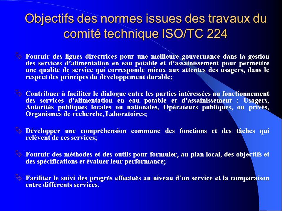 Objectifs des normes issues des travaux du comité technique ISO/TC 224 Fournir des lignes directrices pour une meilleure gouvernance dans la gestion d