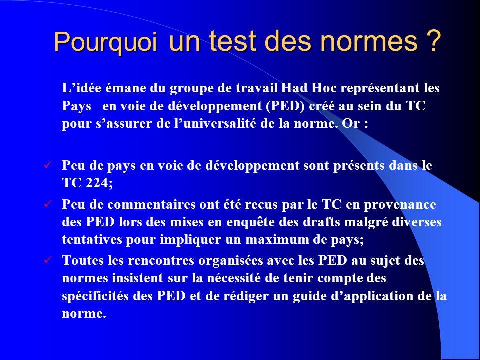 Pourquoi un test des normes ? Lidée émane du groupe de travail Had Hoc représentant les Pays en voie de développement (PED) créé au sein du TC pour sa