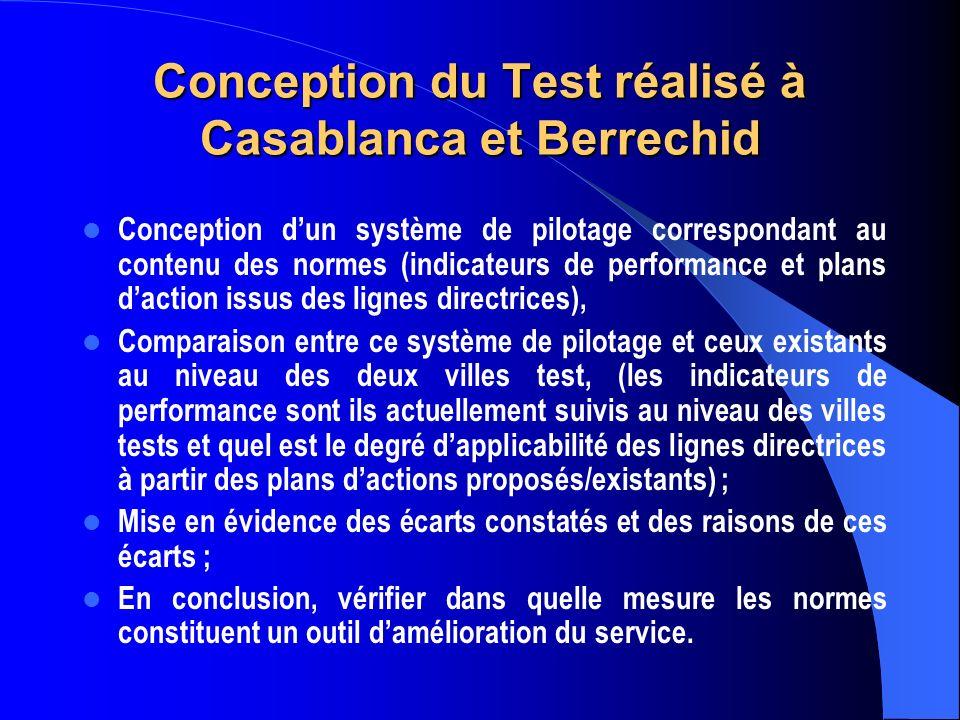 Conception du Test réalisé à Casablanca et Berrechid Conception dun système de pilotage correspondant au contenu des normes (indicateurs de performance et plans daction issus des lignes directrices), Comparaison entre ce système de pilotage et ceux existants au niveau des deux villes test, (les indicateurs de performance sont ils actuellement suivis au niveau des villes tests et quel est le degré dapplicabilité des lignes directrices à partir des plans dactions proposés/existants) ; Mise en évidence des écarts constatés et des raisons de ces écarts ; En conclusion, vérifier dans quelle mesure les normes constituent un outil damélioration du service.