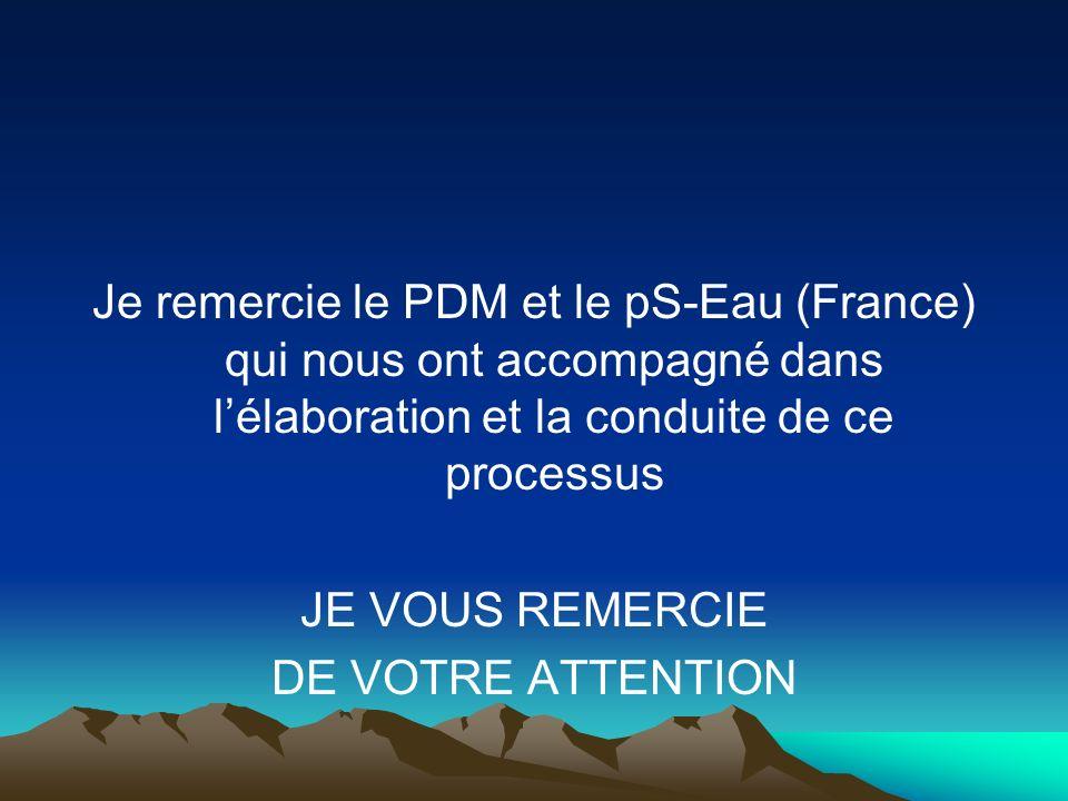 Je remercie le PDM et le pS-Eau (France) qui nous ont accompagné dans lélaboration et la conduite de ce processus JE VOUS REMERCIE DE VOTRE ATTENTION