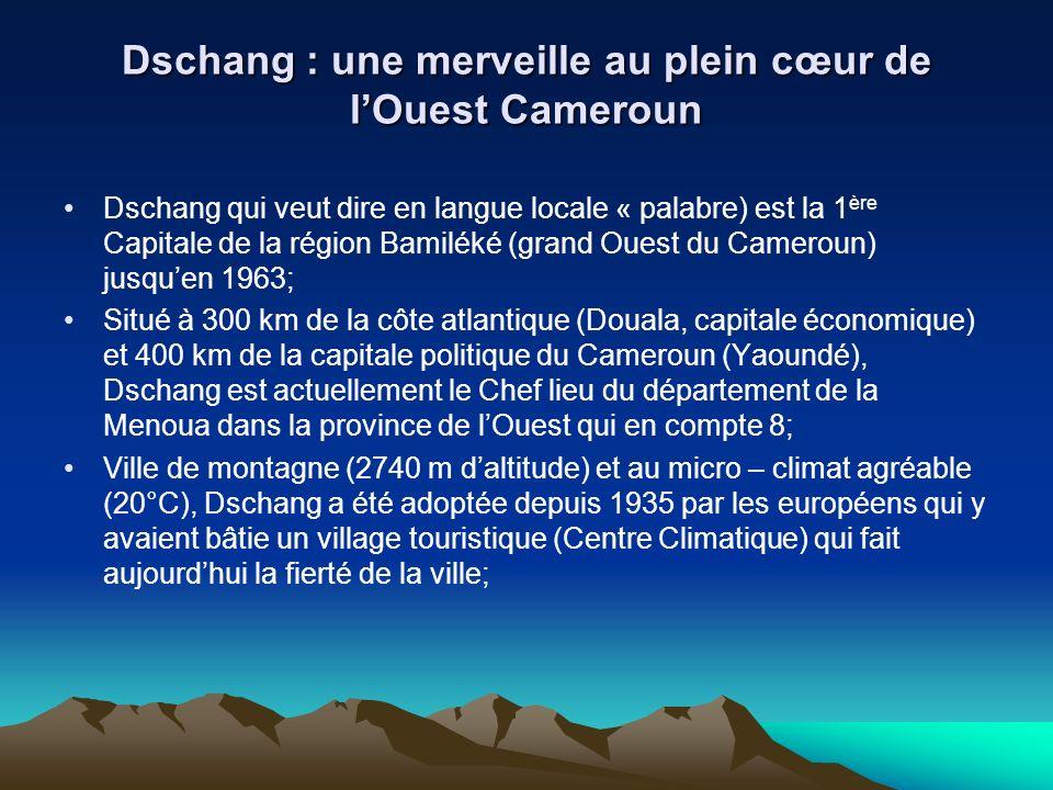 Dschang : une merveille au plein cœur de lOuest Cameroun (suite) Dschang a une grande richesse culturelle à travers les chefferies traditionnelles quelle abrite (Foto et Foreke Dschang), son marché des Arts, son office de tourisme qui est le tout premier du genre au Cameroun; Temple du savoir, la ville de Dschang est le seul chef lieu de département qui abrite lune des six universités dEtat du Cameroun (14 000 étudiants en 2005); Population estimée à 70 000 habitants.