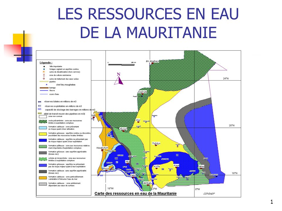 2 Les ressources en eau de surface sont essentiellement constituées par le fleuve Sénégal, ses affluents et les autres retenues dont le plus important est le barrage de Foum gleita avec une réserve de 500 millions de m3/an.