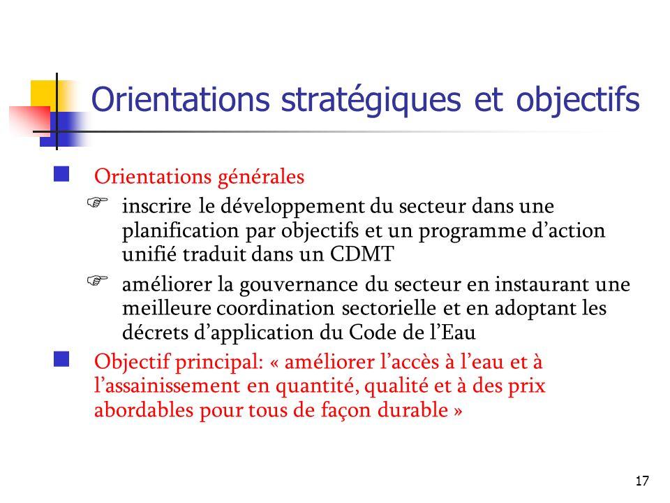 17 Orientations stratégiques et objectifs Orientations générales inscrire le développement du secteur dans une planification par objectifs et un progr
