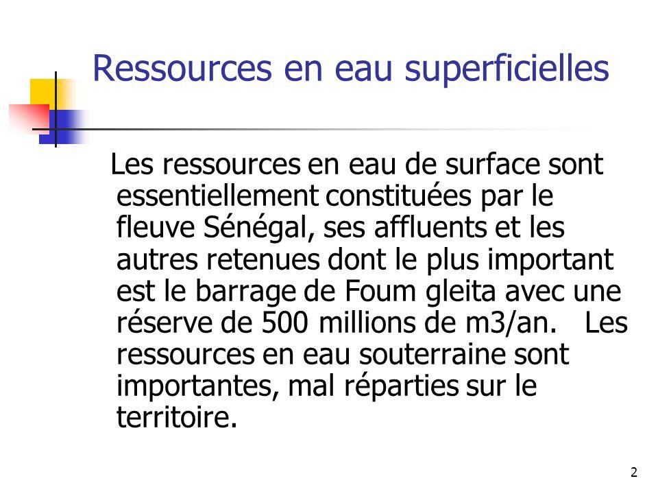 13 Situation actuelle (5) Situation des investissements Leau en milieu urbain: 10 Mrds UM soit 40 MUSD sur la période 2001-2004 hors projet Aftout (59 milliards UM soit 220 MUSD), plan durgence 2003-2004 et PDU ont porté la production de Nouakchott de 40.000 m3/j à 60.000 m3/j sécurisation de la production de Nouadhibou et renforcement de la production pour plusieurs autres villes