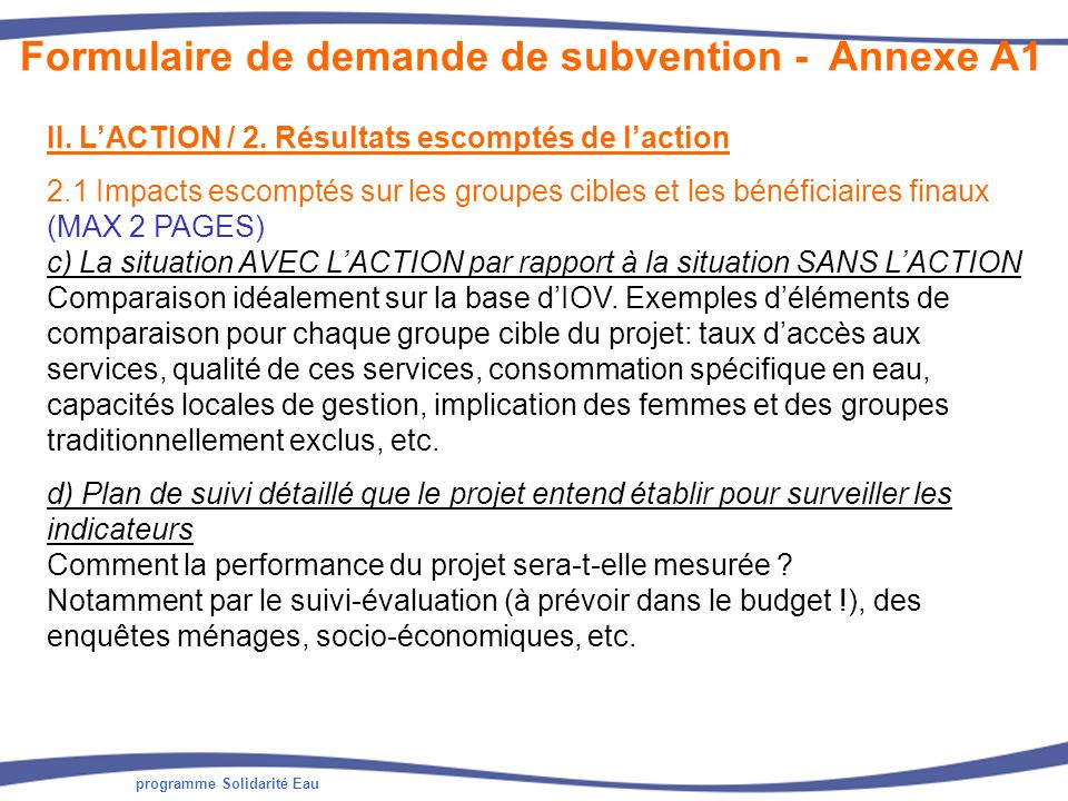 programme Solidarité Eau II. LACTION / 2. Résultats escomptés de laction 2.1 Impacts escomptés sur les groupes cibles et les bénéficiaires finaux (MAX