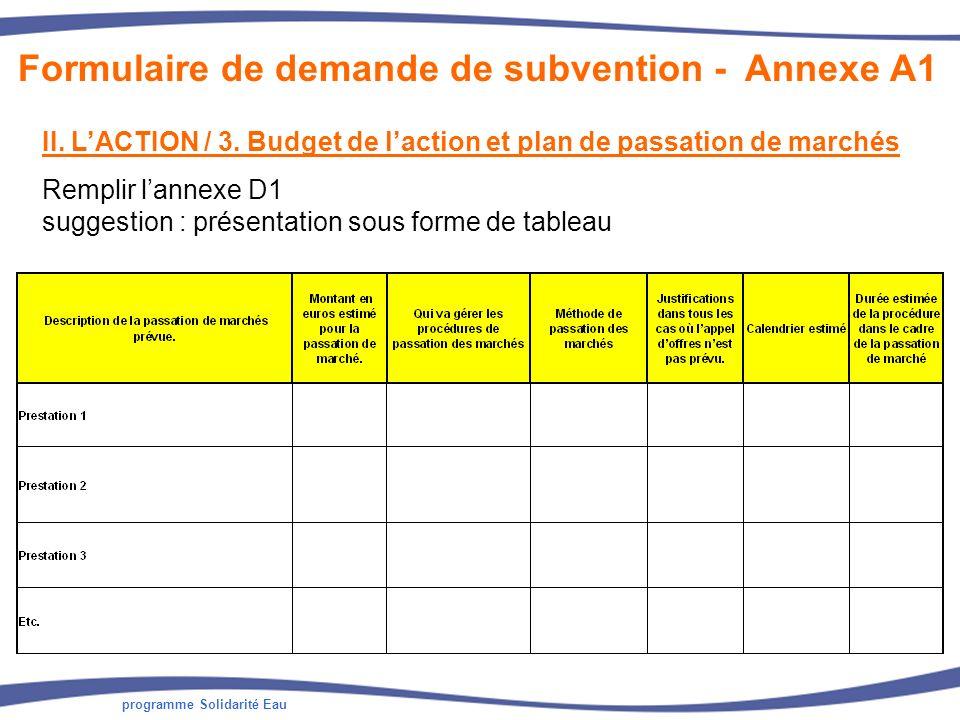 programme Solidarité Eau II. LACTION / 3. Budget de laction et plan de passation de marchés Remplir lannexe D1 suggestion : présentation sous forme de
