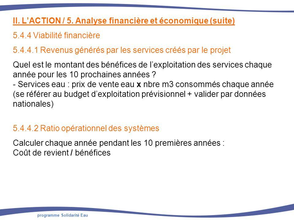 programme Solidarité Eau II. LACTION / 5. Analyse financière et économique (suite) 5.4.4 Viabilité financière 5.4.4.1 Revenus générés par les services