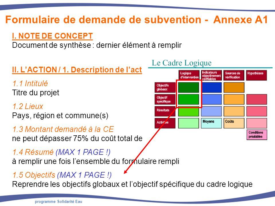programme Solidarité Eau Formulaire de demande de subvention - Annexe A1 II. LACTION / 1. Description de laction 1.1 Intitulé Titre du projet 1.2 Lieu