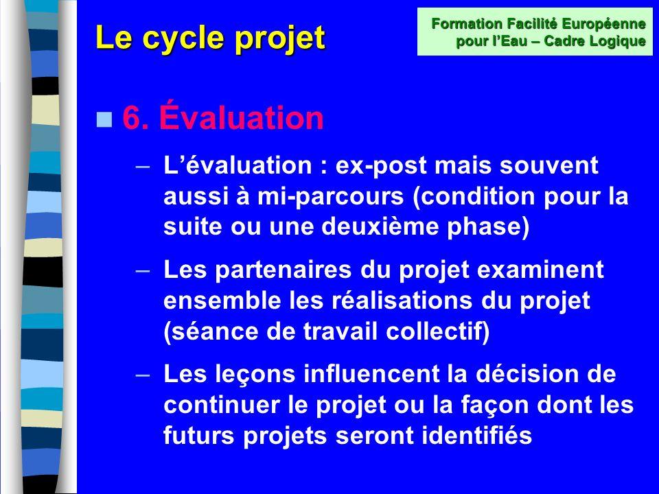 Le cycle projet 5. Mise en oeuvre –Le projet est exécuté ou mis en œuvre par le demandeur ou toute autre structure qui a été identifiée précédemment –