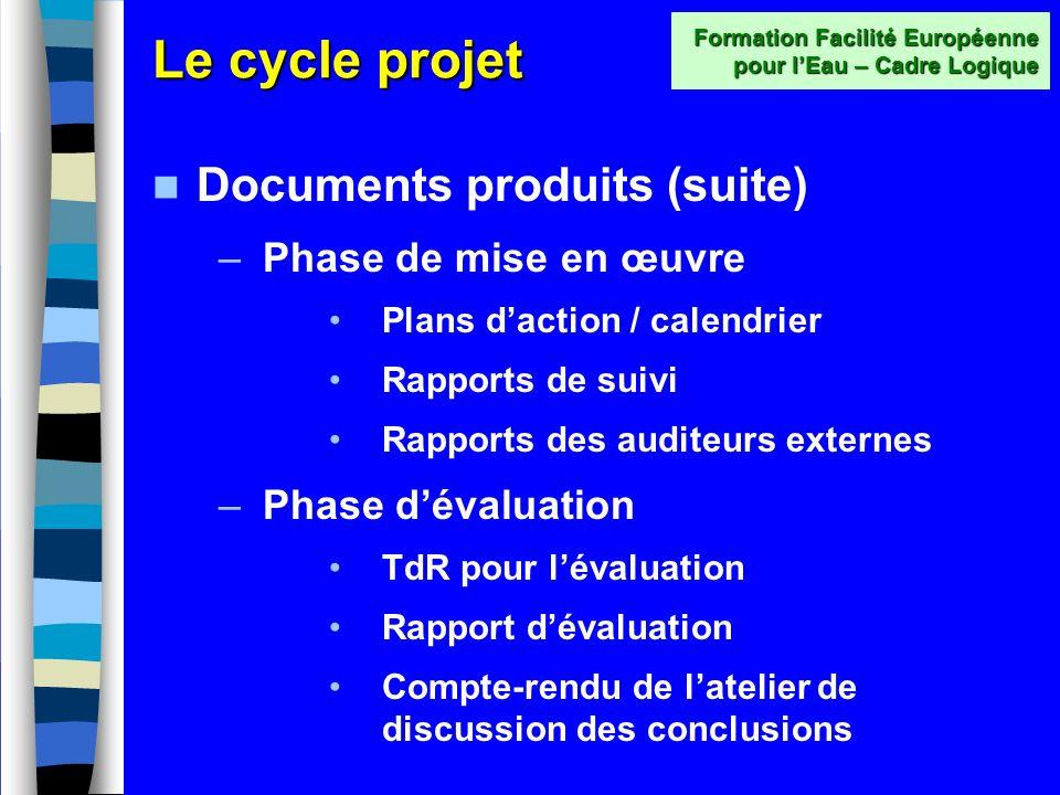 Le cycle projet Documents produits (suite) –Phase dinstruction/formulation TdR de létude de faisabilité Rapport de la faisabilité Compte-rendu dun ate