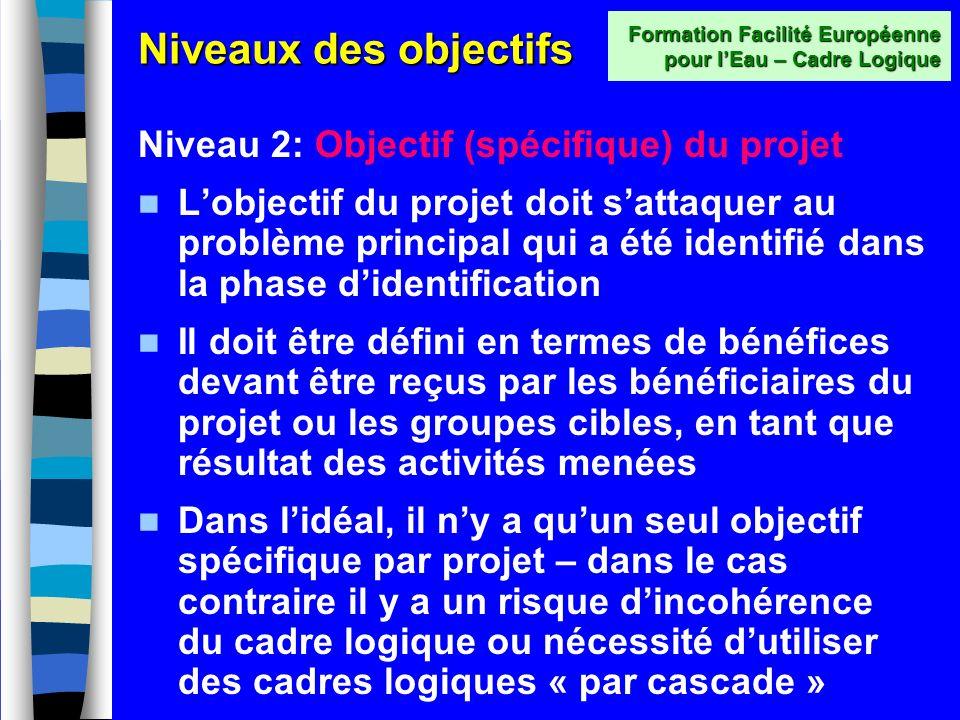 Niveaux des objectifs Niveau 1: Objectifs globaux Les objectifs globaux du projet doivent expliquer en quoi le projet est important pour lensemble de