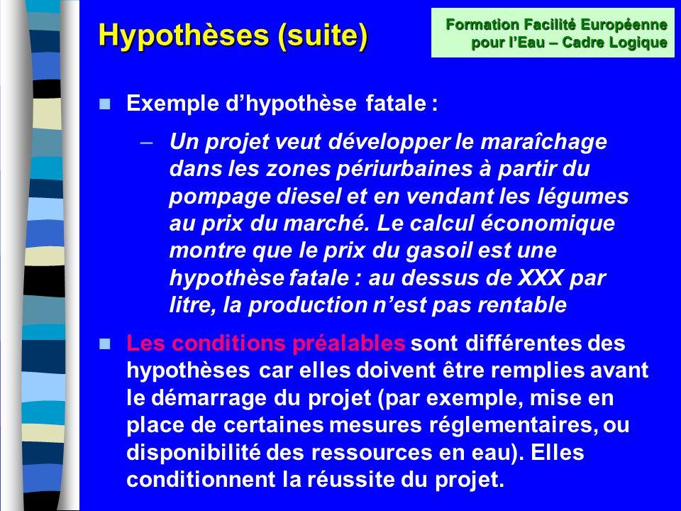 Hypothèses (suite) Formation Facilité Européenne pour lEau – Cadre Logique Attention à lhypothèse « fatale » !!