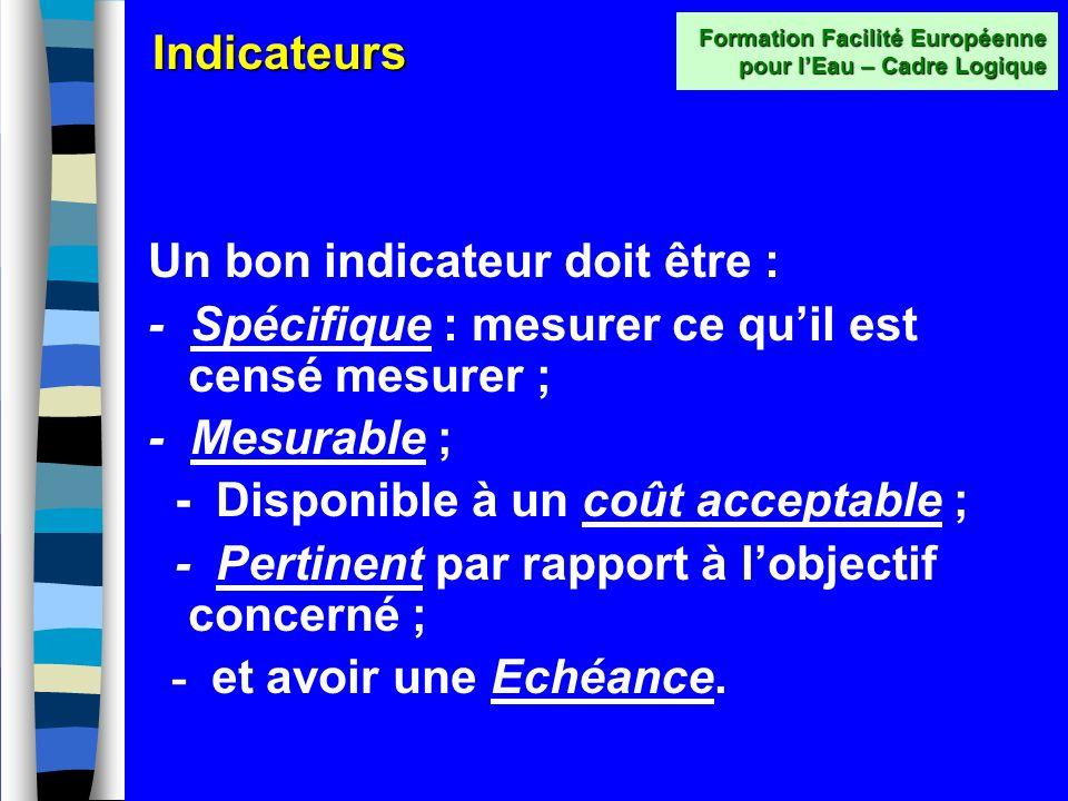 Indicateurs Les Indicateurs Objectivement Vérifiables (IOV) décrivent les objectifs du projet de façon à ce quils puissent être mesurés facilement, en
