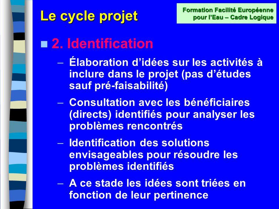 Le cycle projet 1. Programmation –Situation au niveau national ; données socioéconomiques dordre général –Lidée du projet est-elle une priorité ? –Est