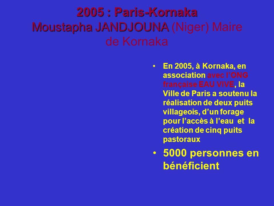 2005 : Paris-Kornaka Moustapha JANDJOUNA 2005 : Paris-Kornaka Moustapha JANDJOUNA (Niger) Maire de Kornaka En 2005, à Kornaka, en association avec lON