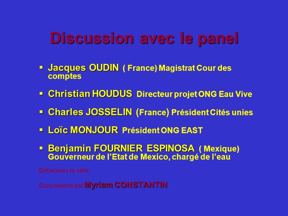 Discussion avec le panel Jacques OUDIN Jacques OUDIN ( France) Magistrat Cour des comptes Christian HOUDUS Christian HOUDUS Directeur projet ONG Eau V
