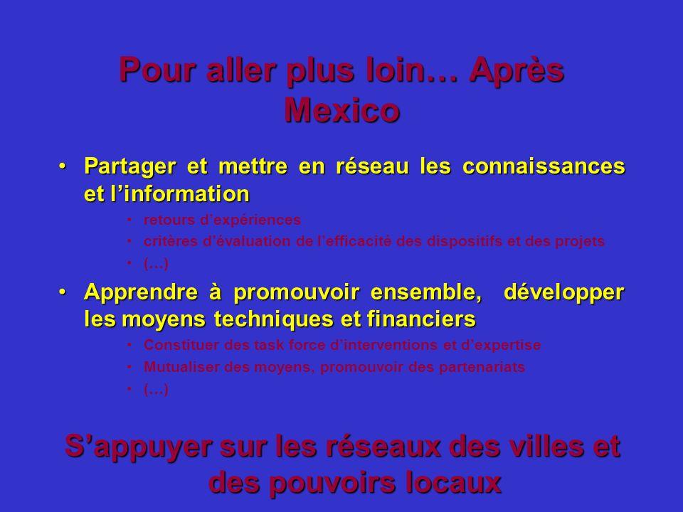 Pour aller plus loin… Après Mexico Partager et mettre en réseau les connaissances et linformationPartager et mettre en réseau les connaissances et lin