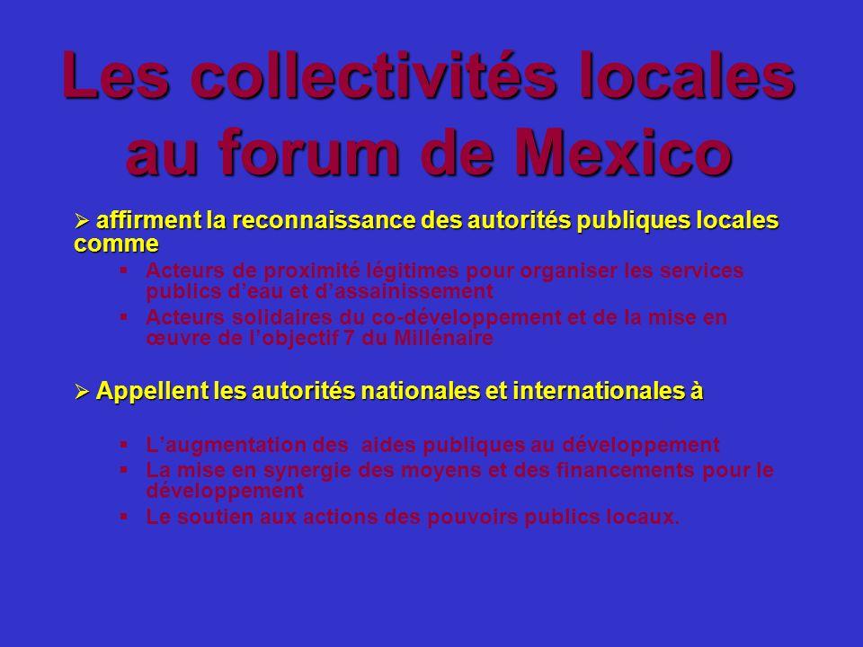 Les collectivités locales au forum de Mexico affirment la reconnaissance des autorités publiques locales comme affirment la reconnaissance des autorit