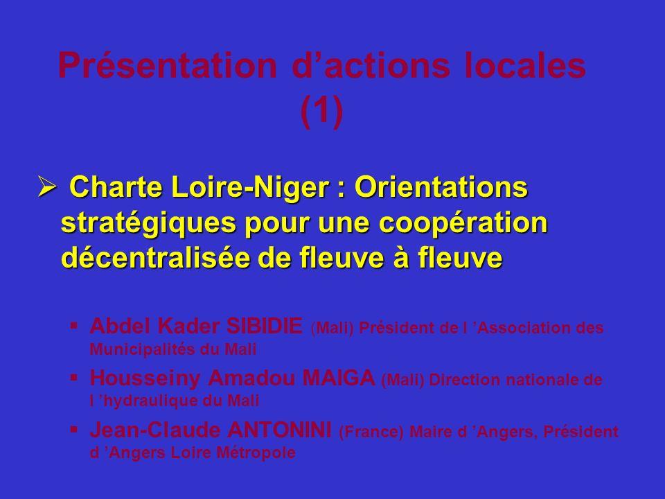 Présentation dactions locales (1) Charte Loire-Niger : Orientations stratégiques pour une coopération décentralisée de fleuve à fleuve Charte Loire-Ni