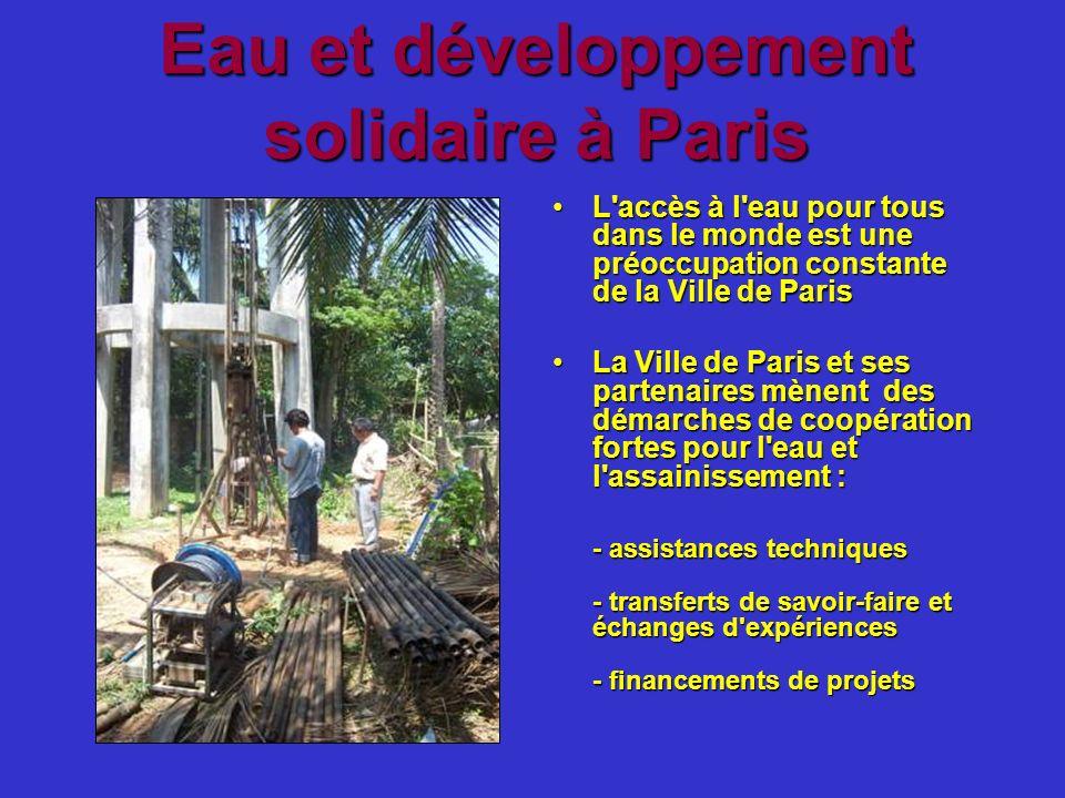 Eau et développement solidaire à Paris L'accès à l'eau pour tous dans le monde est une préoccupation constante de la Ville de ParisL'accès à l'eau pou