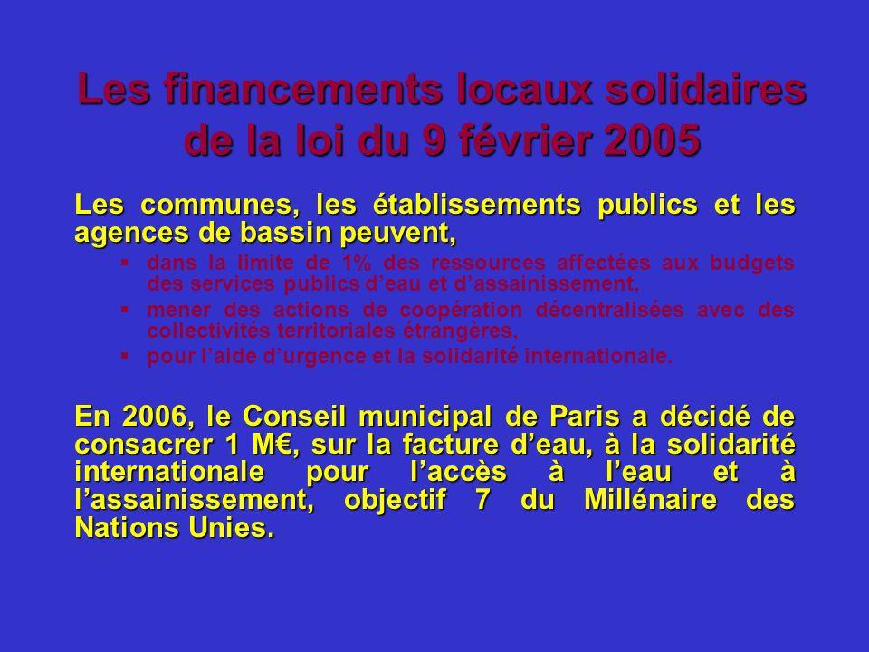 Les financements locaux solidaires de la loi du 9 février 2005 Les communes, les établissements publics et les agences de bassin peuvent, dans la limi