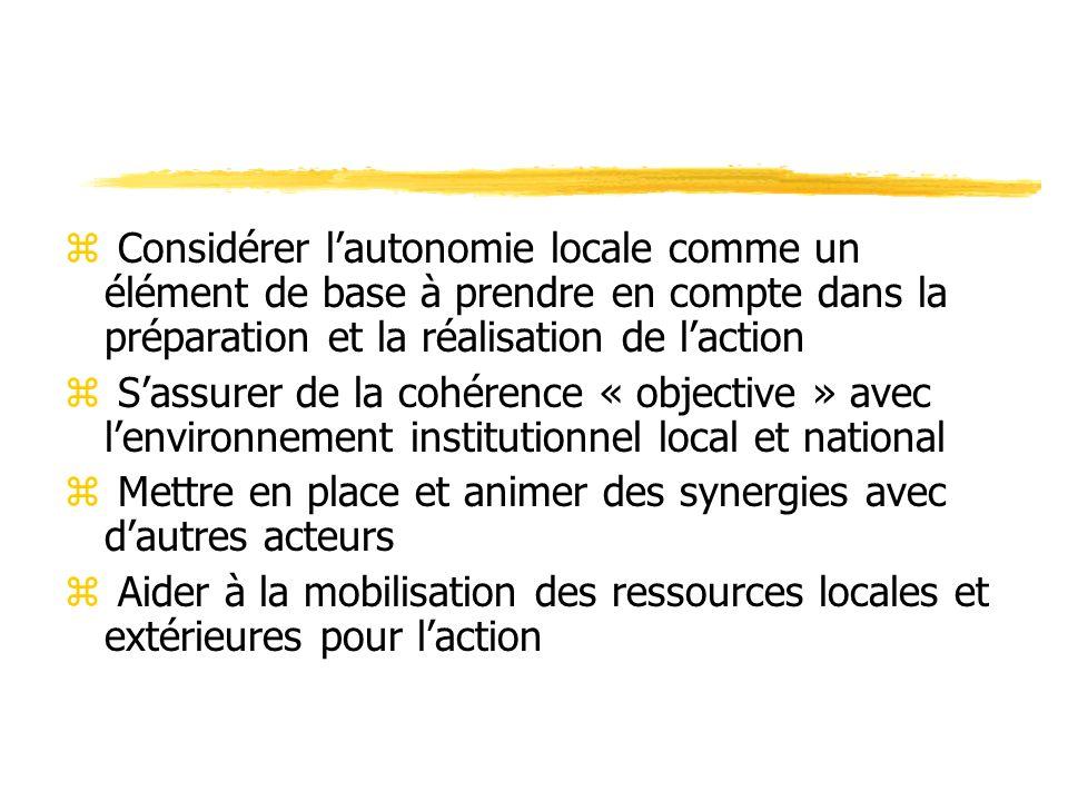 Pour ce qui est de la mobilisation des ressources z Ressources locales sont en croissance avec de nouvelles sources (budgets communaux, apports de ressortissants, mécénats locaux, …) z Ressources extérieures sont en diminution depuis 28 ans (donateurs privés, fonds publics français et européens, …)