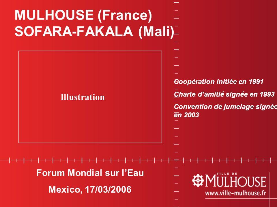 01 avril 20031 Forum Mondial sur lEau Mexico, 17/03/2006 MULHOUSE (France) SOFARA-FAKALA (Mali) Illustration Coopération initiée en 1991 Charte damiti