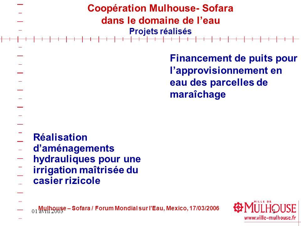01 avril 20032 Coopération Mulhouse- Sofara dans le domaine de leau Projets réalisés Financement de puits pour lapprovisionnement en eau des parcelles