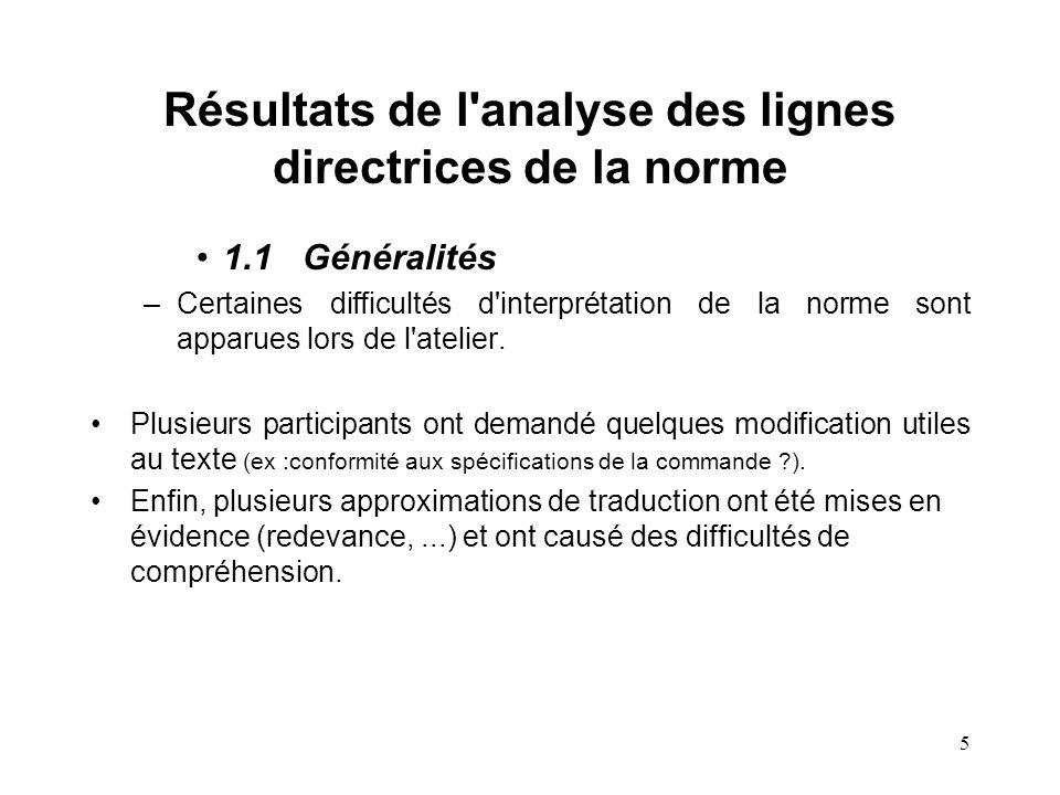 5 Résultats de l analyse des lignes directrices de la norme 1.1Généralités –Certaines difficultés d interprétation de la norme sont apparues lors de l atelier.