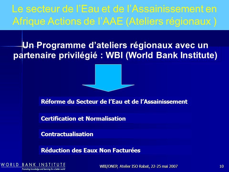 WBI/ONEP, Atelier ISO Rabat, 22-25 mai 200710 Réforme du Secteur de lEau et de lAssainissement Contractualisation Certification et Normalisation Réduc