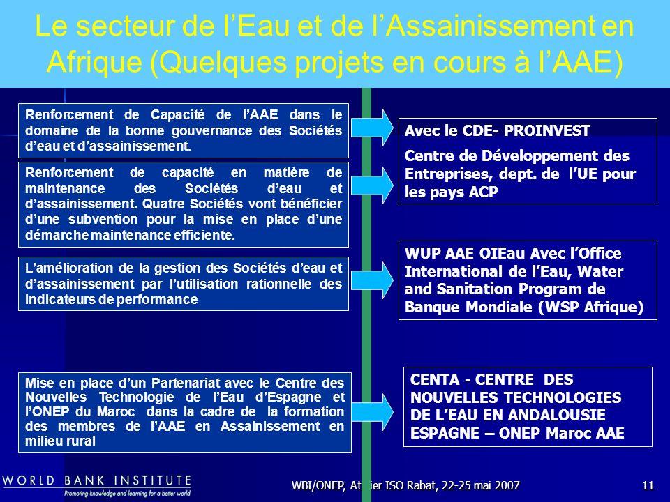 WBI/ONEP, Atelier ISO Rabat, 22-25 mai 200711 Renforcement de Capacité de lAAE dans le domaine de la bonne gouvernance des Sociétés deau et dassainiss