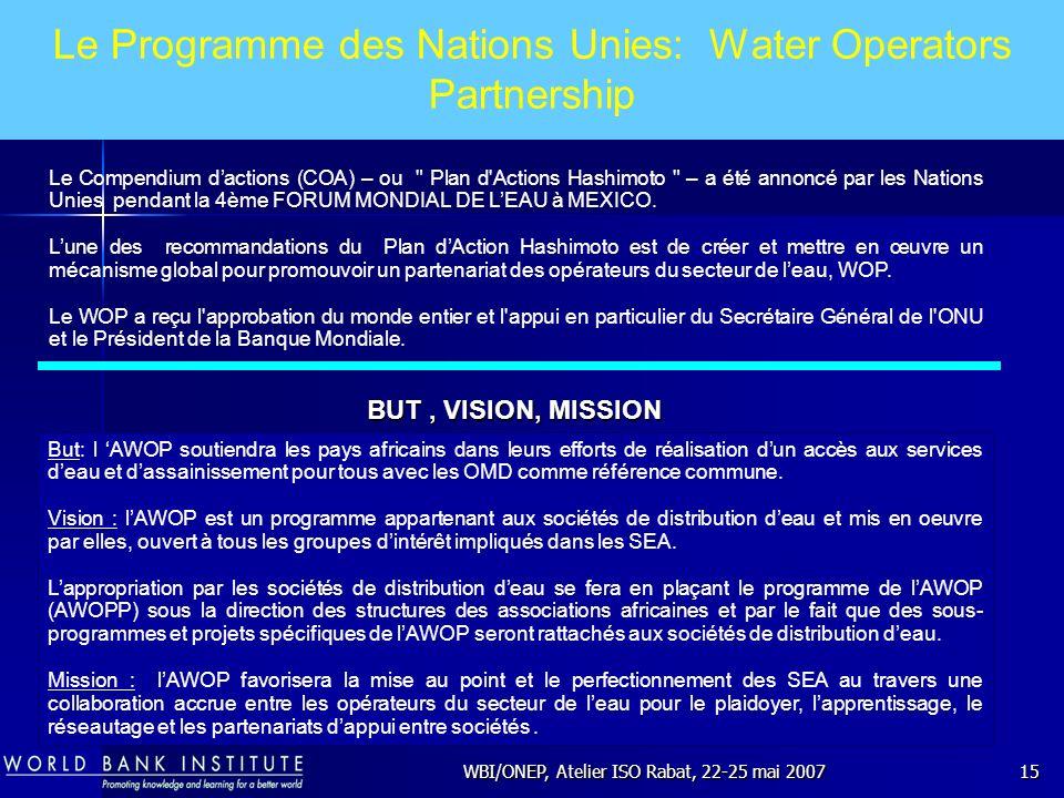 WBI/ONEP, Atelier ISO Rabat, 22-25 mai 200715 Le Programme des Nations Unies: Water Operators Partnership But: l AWOP soutiendra les pays africains da