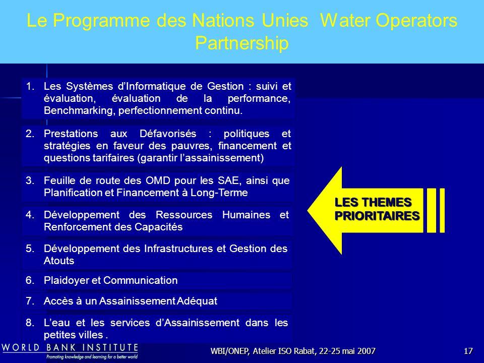 WBI/ONEP, Atelier ISO Rabat, 22-25 mai 200717 Le Programme des Nations Unies Water Operators Partnership 1.Les Systèmes dInformatique de Gestion : sui