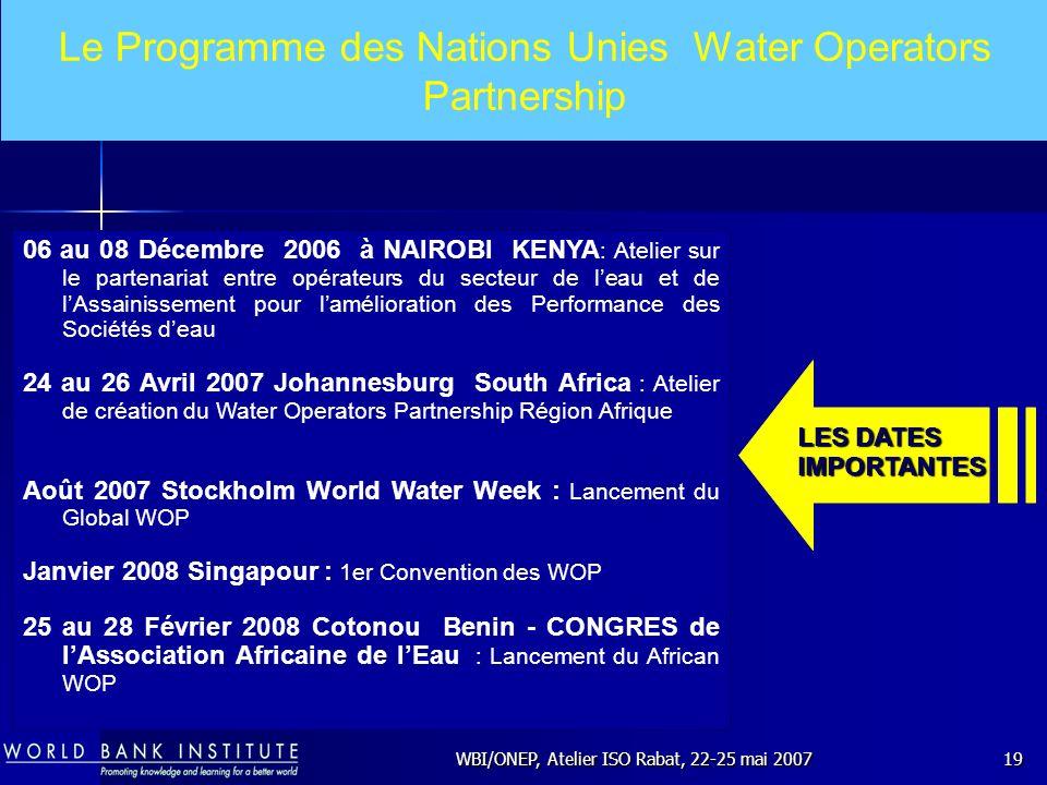 WBI/ONEP, Atelier ISO Rabat, 22-25 mai 200719 Le Programme des Nations Unies Water Operators Partnership 06 au 08 Décembre 2006 à NAIROBI KENYA : Atel