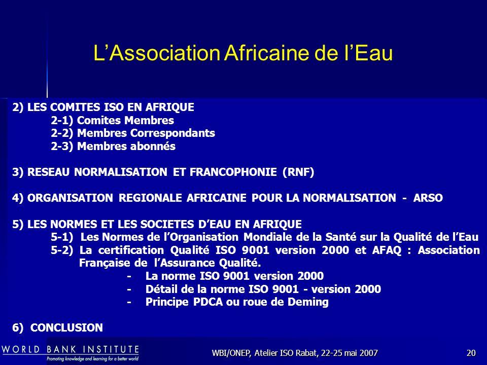 WBI/ONEP, Atelier ISO Rabat, 22-25 mai 200720 2) LES COMITES ISO EN AFRIQUE 2-1) Comites Membres 2-2) Membres Correspondants 2-3) Membres abonnés 3) R