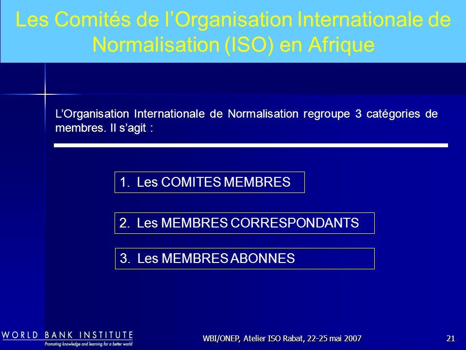 WBI/ONEP, Atelier ISO Rabat, 22-25 mai 200721 LOrganisation Internationale de Normalisation regroupe 3 catégories de membres. Il sagit : 1.Les COMITES
