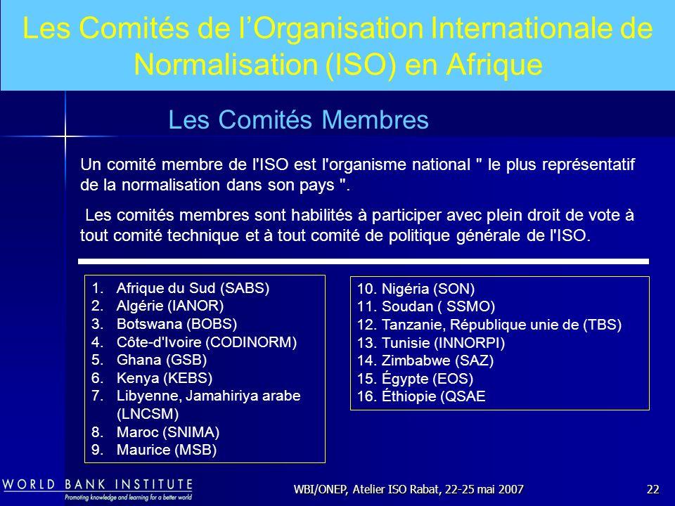 WBI/ONEP, Atelier ISO Rabat, 22-25 mai 200722 Un comité membre de l'ISO est l'organisme national