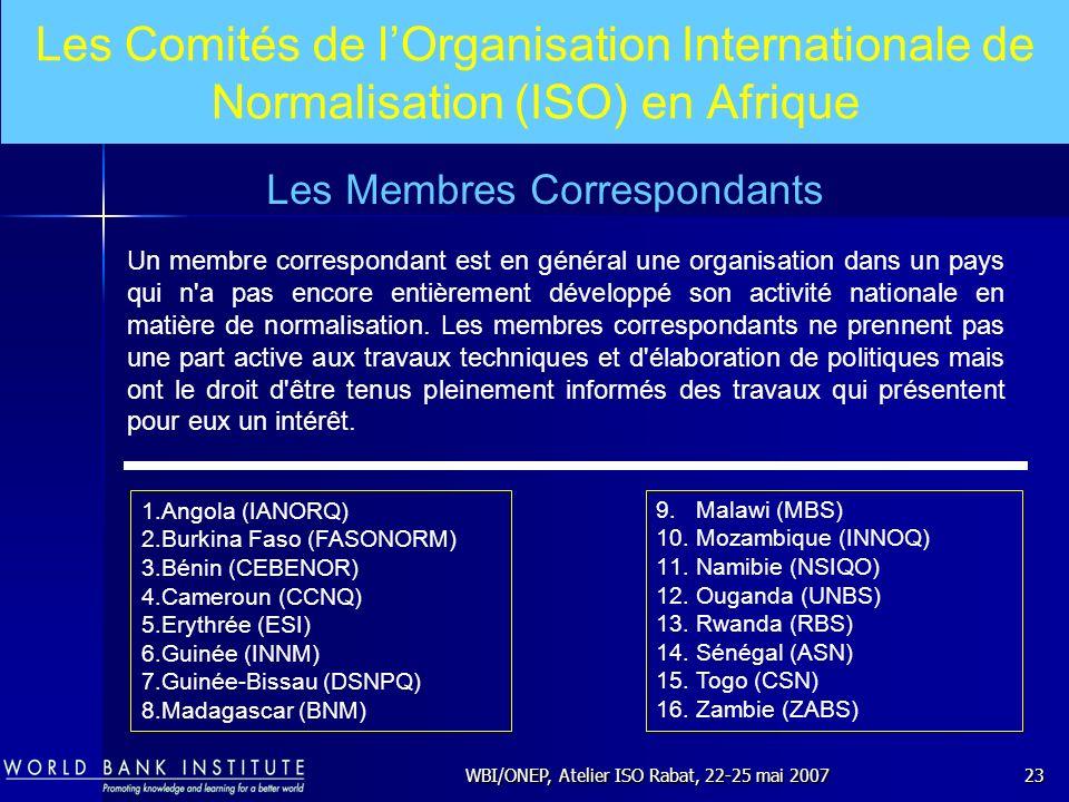 WBI/ONEP, Atelier ISO Rabat, 22-25 mai 200723 Un membre correspondant est en général une organisation dans un pays qui n'a pas encore entièrement déve