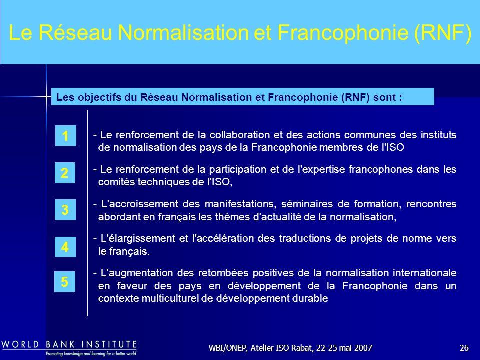 WBI/ONEP, Atelier ISO Rabat, 22-25 mai 200726 Le Réseau Normalisation et Francophonie (RNF) - Le renforcement de la collaboration et des actions commu