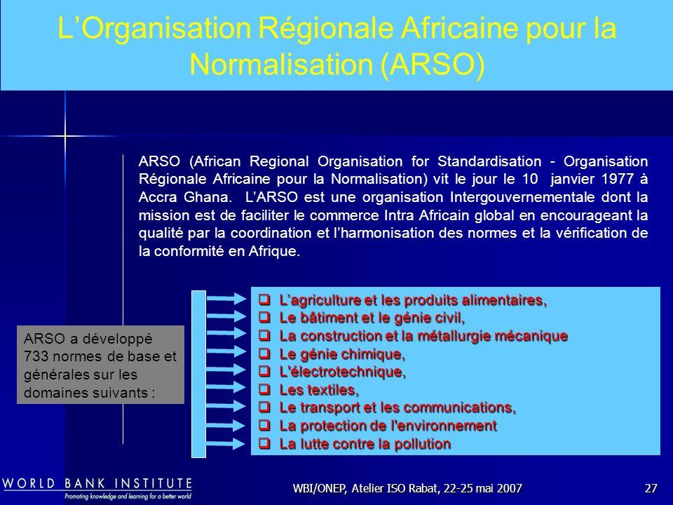 WBI/ONEP, Atelier ISO Rabat, 22-25 mai 200727 LOrganisation Régionale Africaine pour la Normalisation (ARSO) ARSO (African Regional Organisation for S