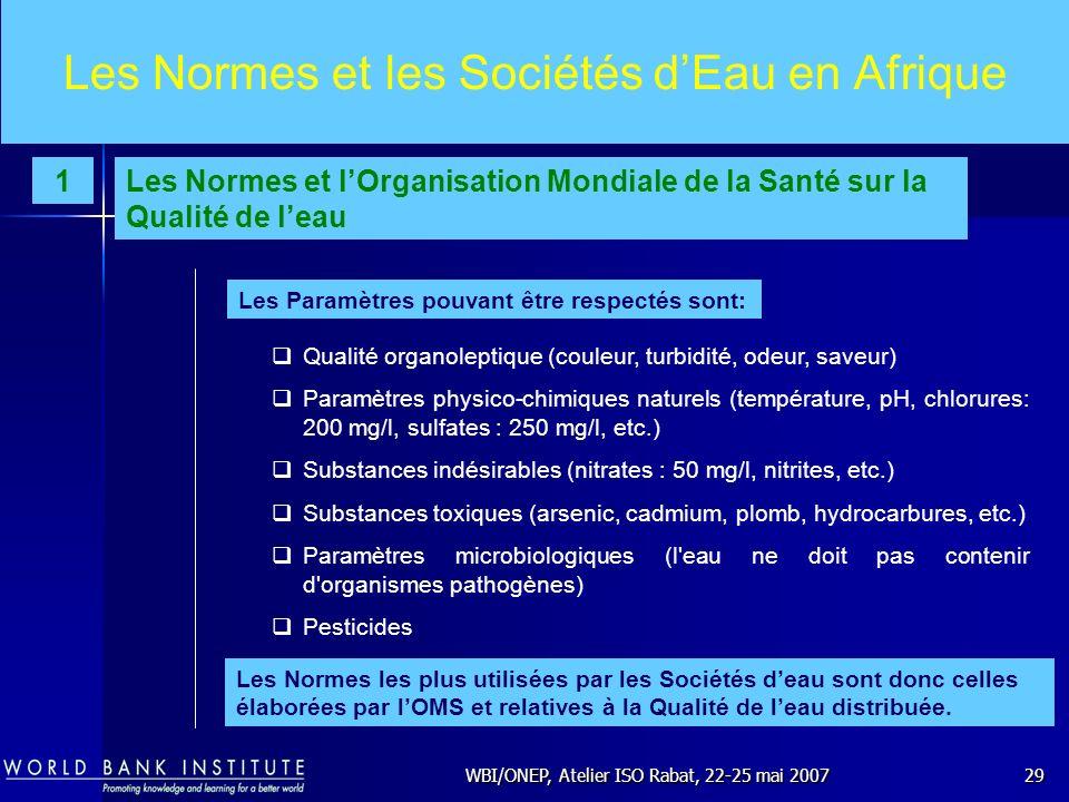 WBI/ONEP, Atelier ISO Rabat, 22-25 mai 200729 Les Normes et les Sociétés dEau en Afrique Qualité organoleptique (couleur, turbidité, odeur, saveur) Pa