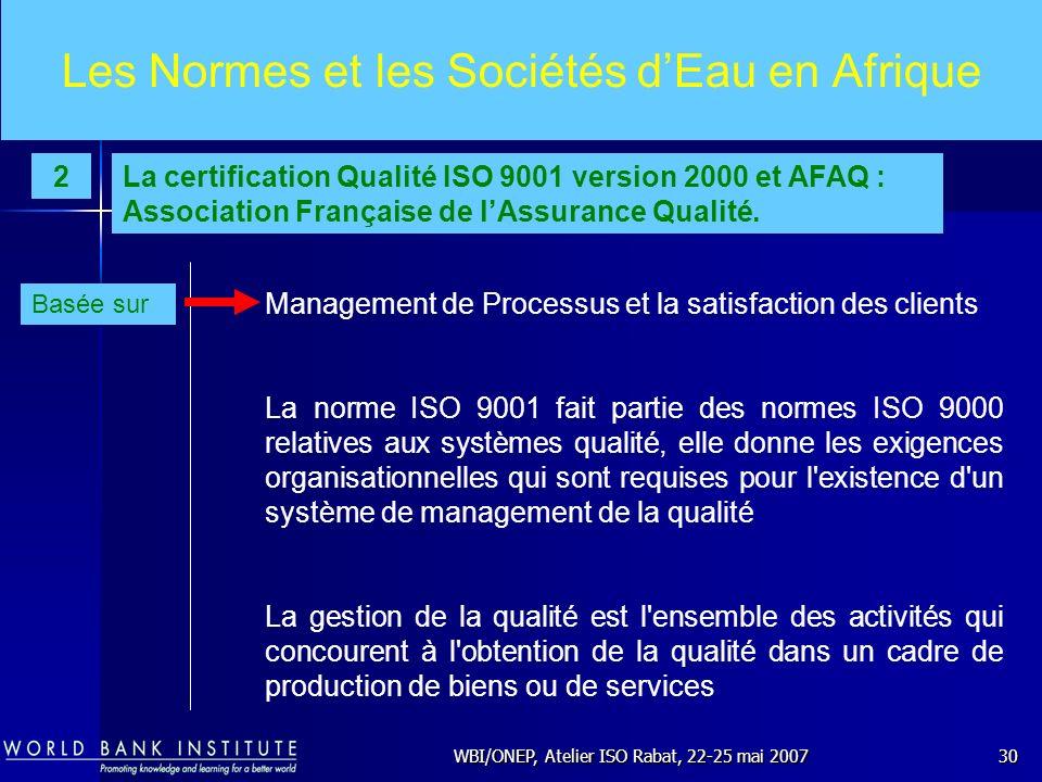 WBI/ONEP, Atelier ISO Rabat, 22-25 mai 200730 Les Normes et les Sociétés dEau en Afrique Management de Processus et la satisfaction des clients La nor