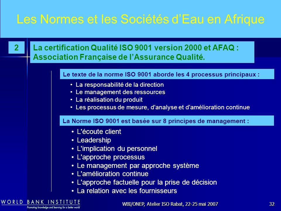 WBI/ONEP, Atelier ISO Rabat, 22-25 mai 200732 Les Normes et les Sociétés dEau en Afrique L'écoute client Leadership L'implication du personnel L'appro
