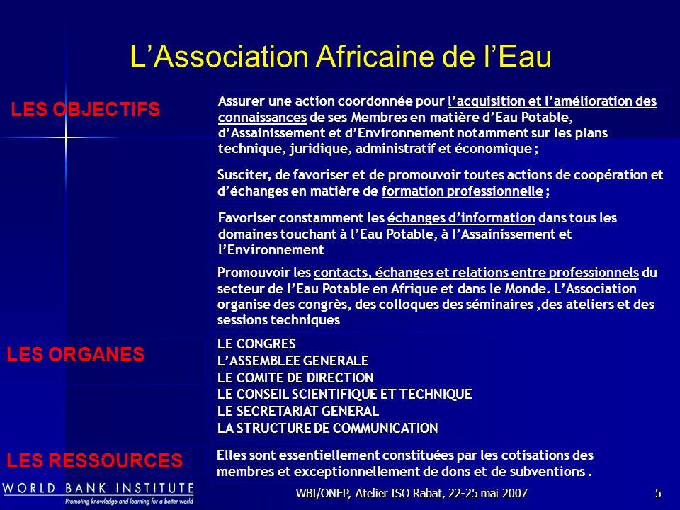 WBI/ONEP, Atelier ISO Rabat, 22-25 mai 20076 LAssociation Africaine de lEau LE CONGRES Le prochain CONGRES de lAssociation Africaine de lEau se déroulera à COTONOU au BENIN du 25 au 28 février 2008 « PARTENARIAT ET BONNE GOUVERNANCE POUR LATTEINTE DES OBJECTIFS DU MILLENIUM POUR LE DEVELOPPEMENT DANS LE SECTEUR DE LEAU ET DE LASSAINISSEMENT EN AFRIQUE » Thème du 14 ième CONGRES de lAAE COTONOU 2008 :